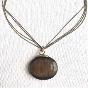 MONET Brown Marble Stone Pendant Necklace